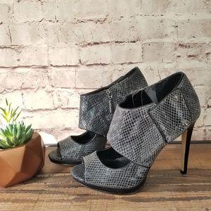 Calvin Klein Lenora Faux Snakeskin Shootie Heel